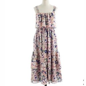 J Crew Collection Floral Silk Tiered Midi Dress 00